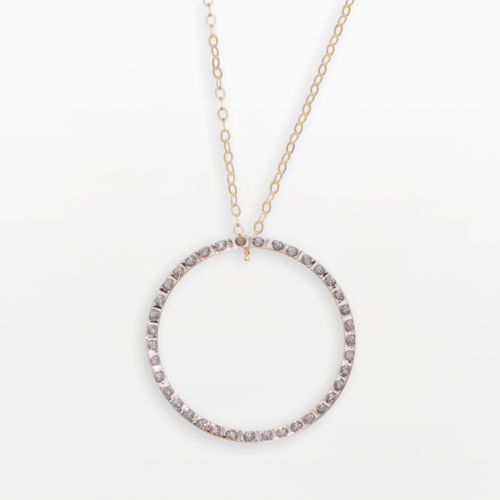 Diamond Fascination 14k Gold Circle Pendant