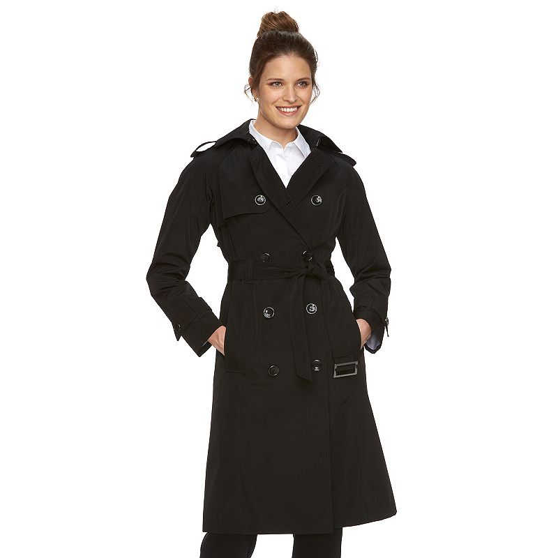 Women's Towne by London Fog Double-Breasted Long Trench Raincoat