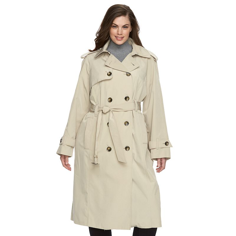 Plus Size Towne by London Fog Double-Breasted Long Trench Raincoat
