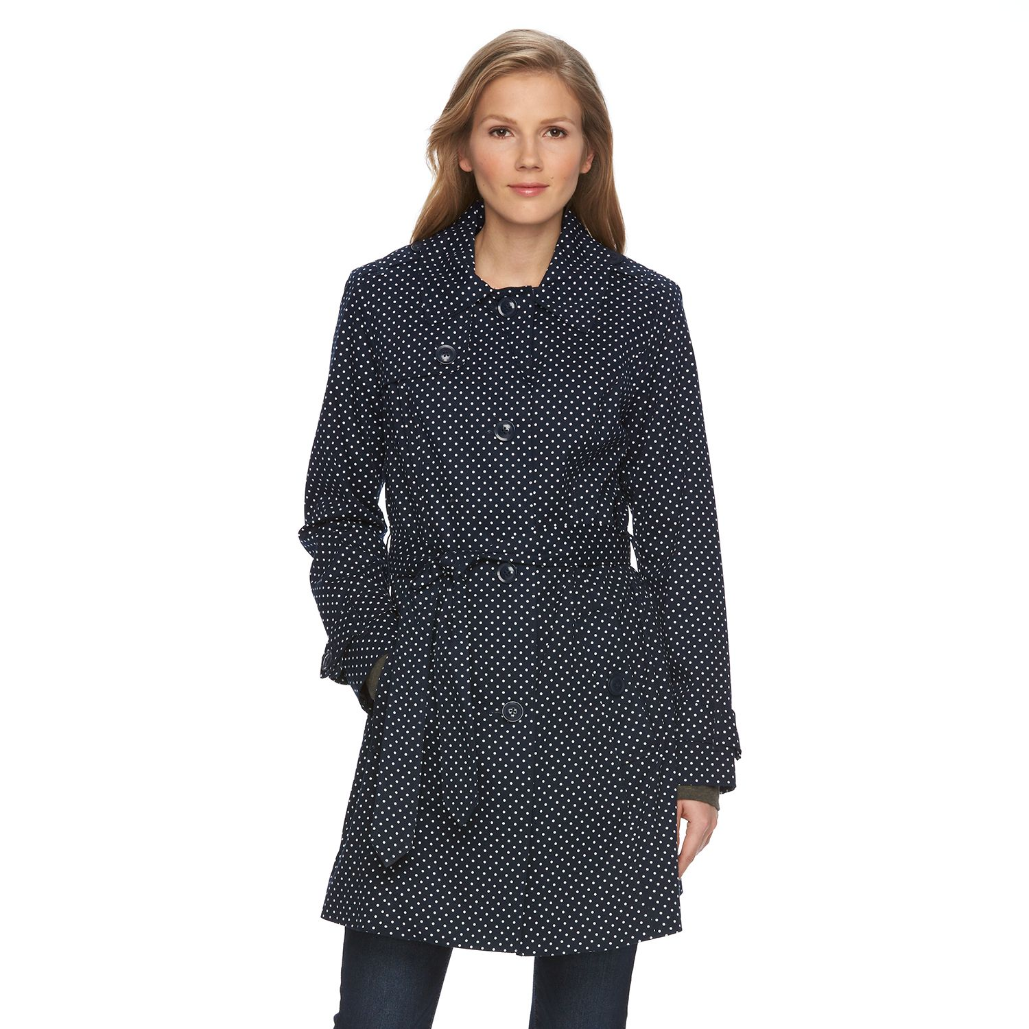 Womens Towne by London Fog Polka-Dot Trench Coat