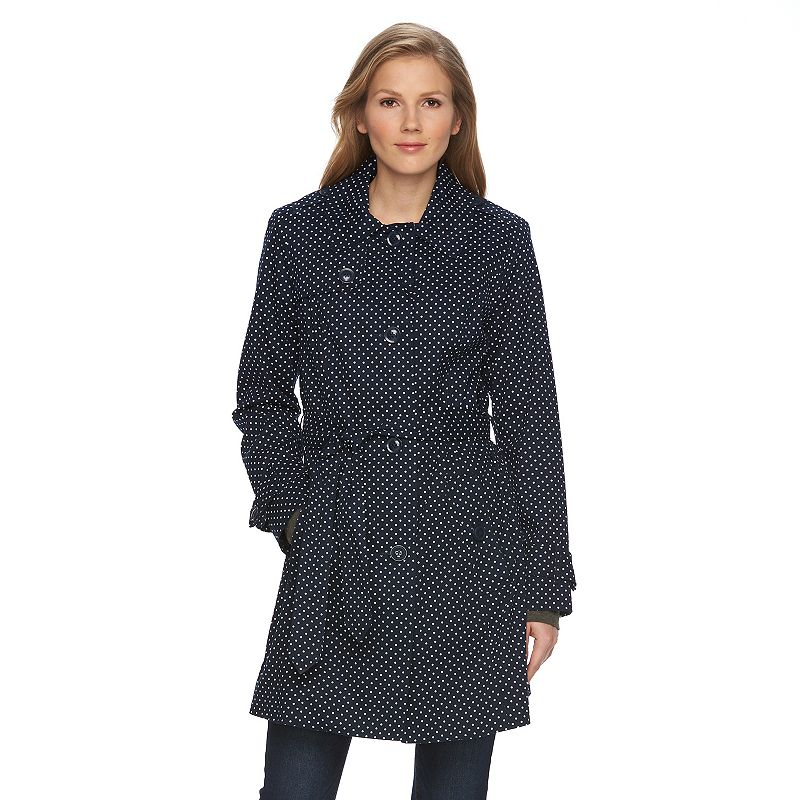 Women's Towne by London Fog Polka-Dot Trench Coat