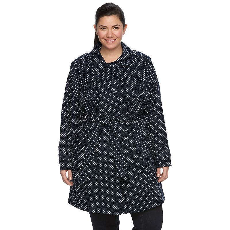 Plus Size Towne by London Fog Polka-Dot Trench Coat