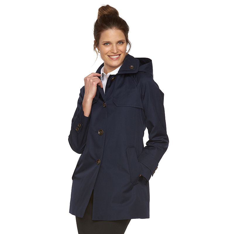 Women's Towne by London Fog Hooded Mid-Length Trench Raincoat