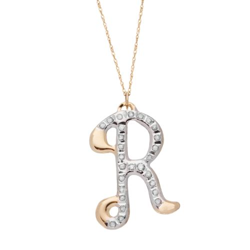 Diamond Fascination 14k Gold Initial Pendant