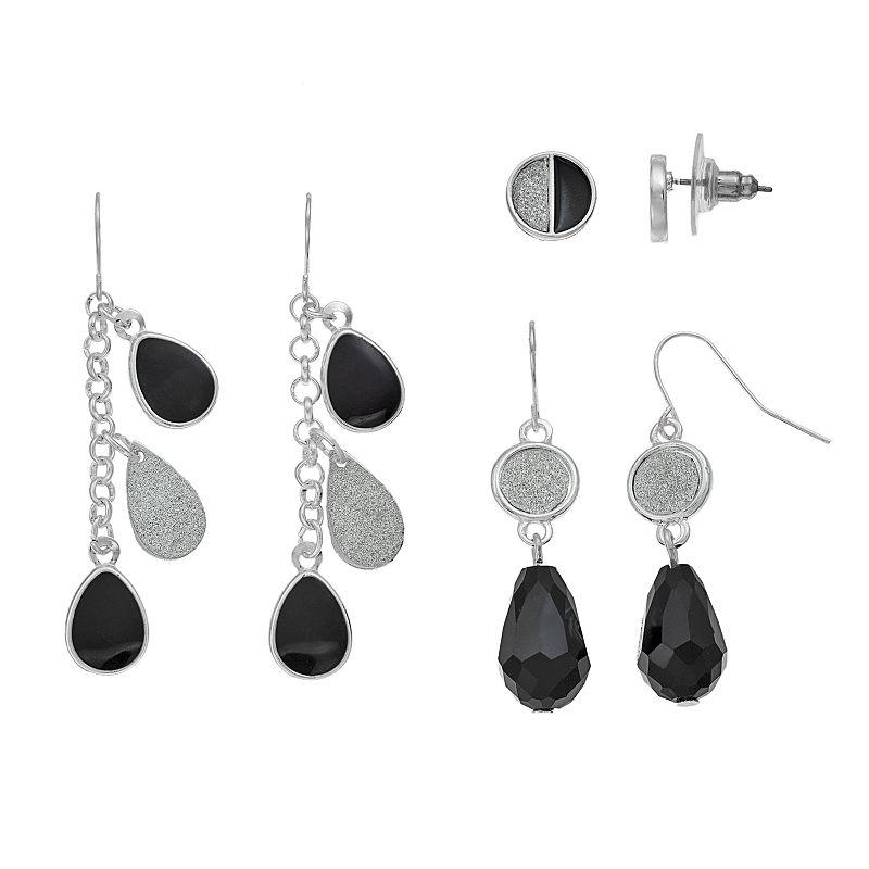 Glitter Black Earring Set