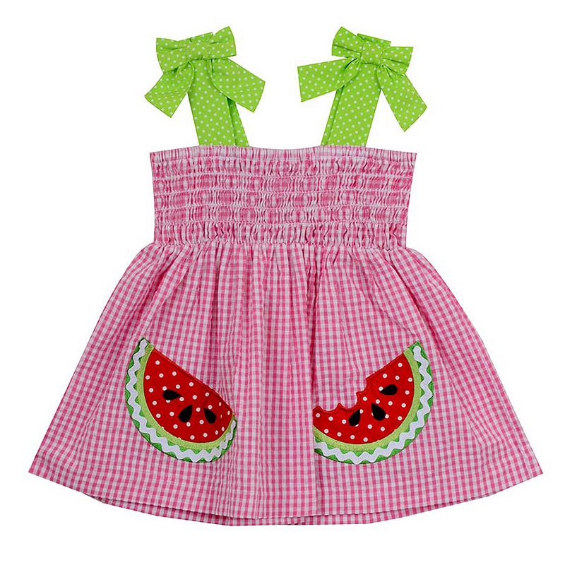 Baby Girl Rare Editions Watermelon Gingham Seersucker Dress