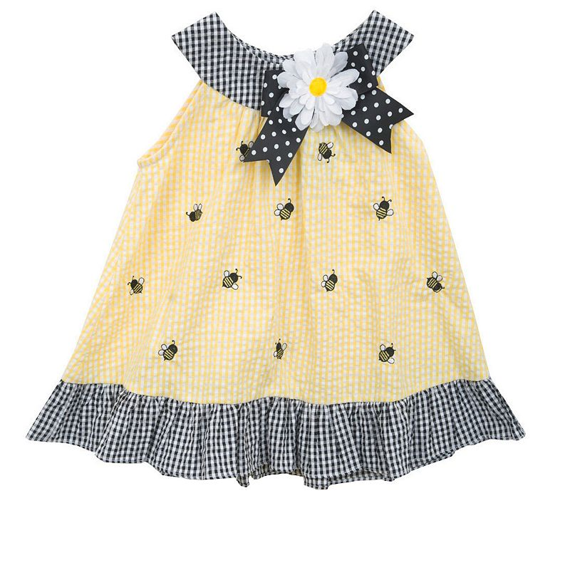 Baby Girl Rare Editions Bees Plaid Seersucker Dress