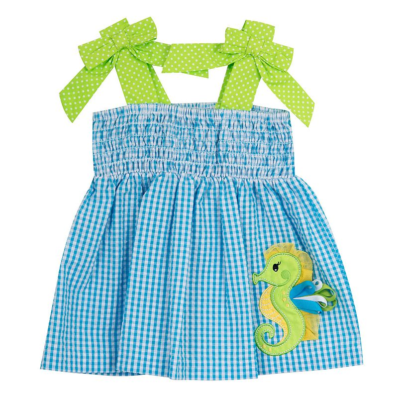 Baby Girl Rare Editions Seahorse Gingham Seersucker Dress