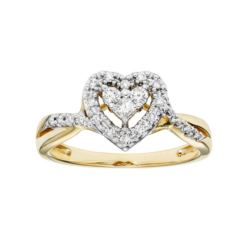 Cherish Always 10k Gold 1/4 Carat T.W. Certified Diamond Heart Engagement Ring