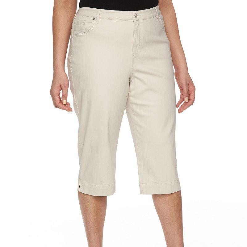 Plus Size Gloria Vanderbilt Embellished Twill Capris