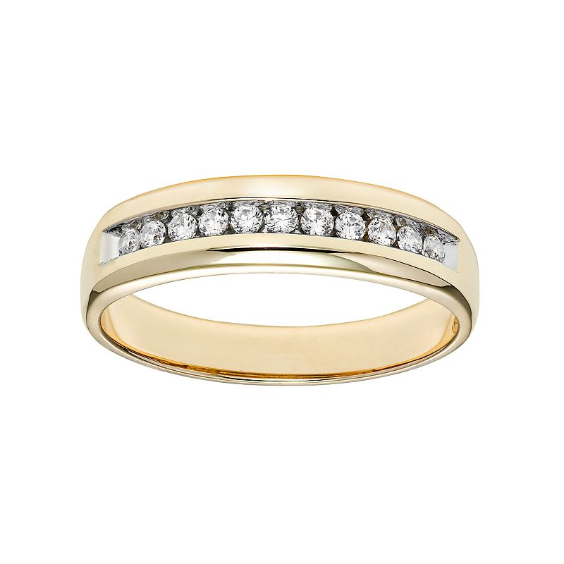 Cherish Always Men's 10k Gold 1/4 Carat T.W. Certified Diamond Wedding Band