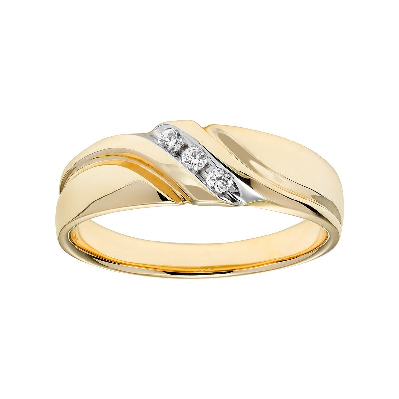 Cherish Always Men's 10k Gold 1/10 Carat T.W. Certified Diamond Wedding Band
