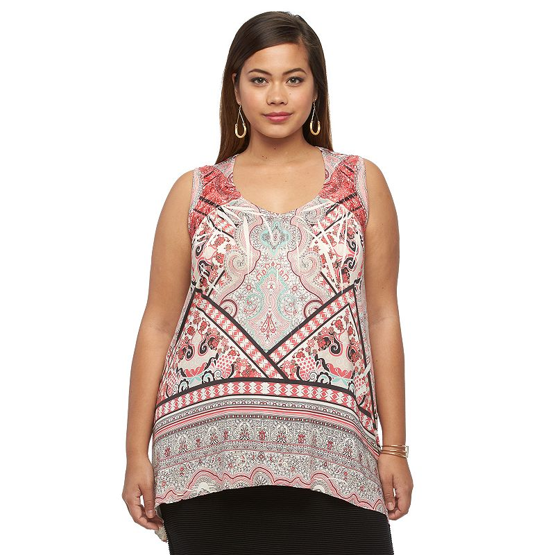 Plus Size Apt. 9® Printed Crochet-Trim Top
