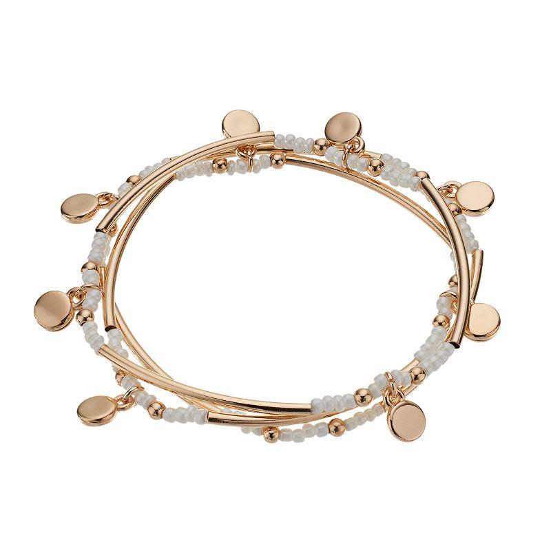 LC Lauren Conrad Disc Charm Stretch Bracelet Set