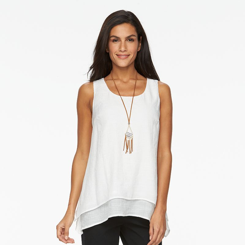 Women's AB Studio Gauze Necklace Tank