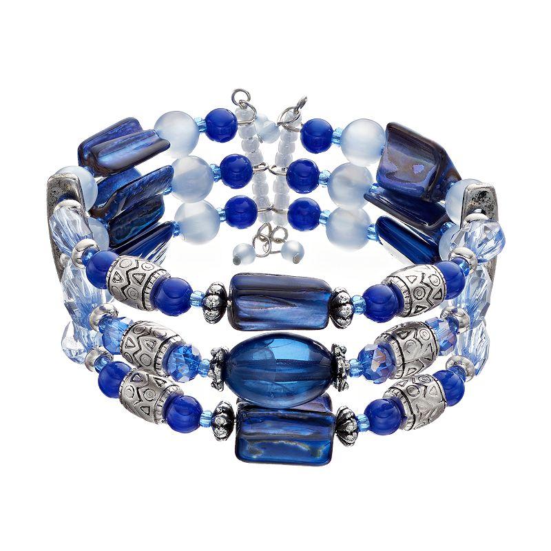 Blue Beaded Multi Row Cuff Bracelet