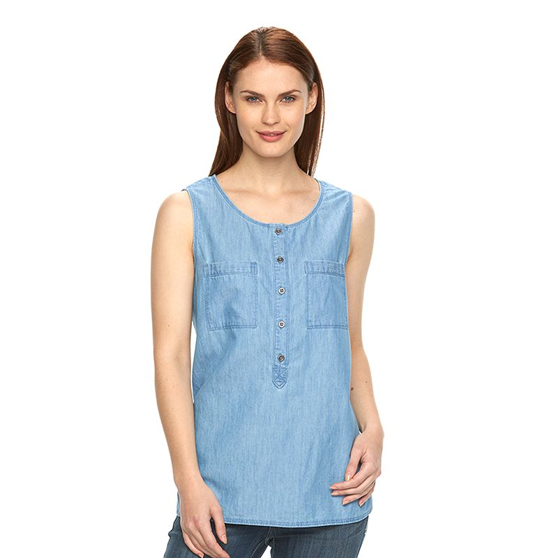 Women's Croft & Barrow® Chambray Henley Tank