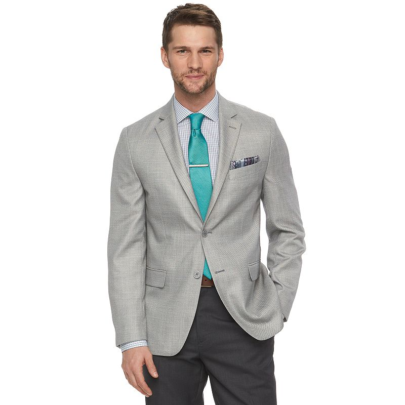 Men's Van Heusen Modern-Fit Light Gray Sharkskin Suit Jacket