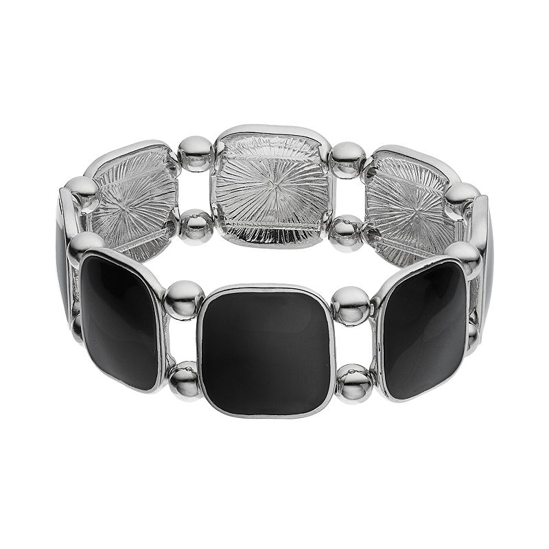 Black Square Link Stretch Bracelet