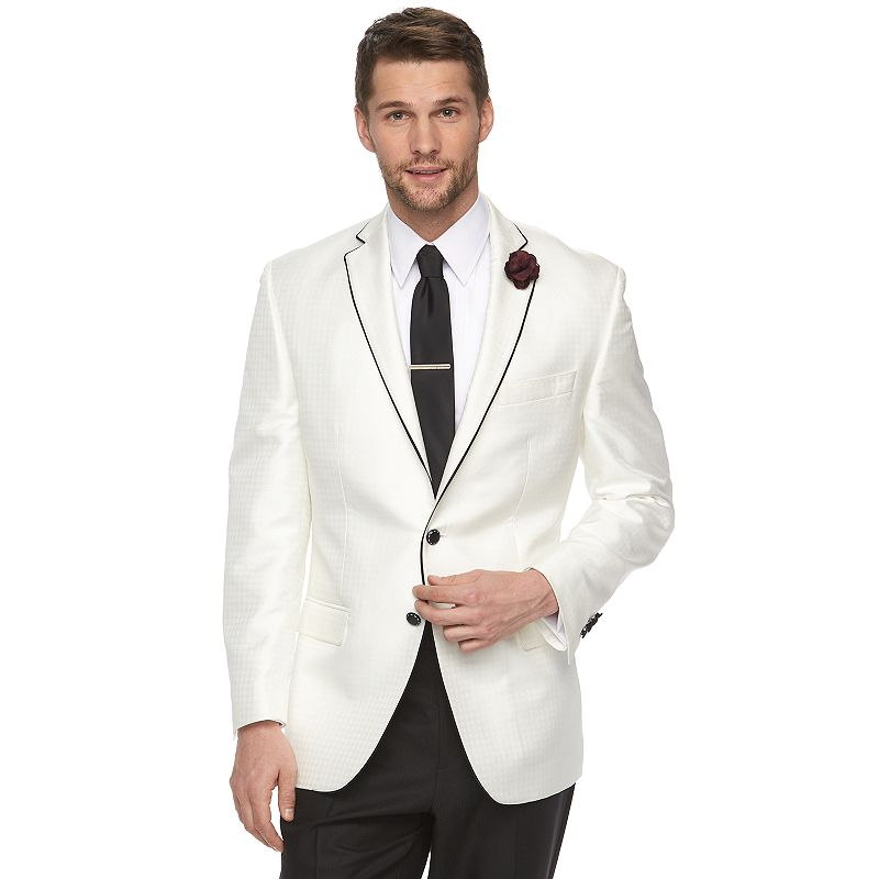 Men's Van Heusen Modern-Fit White Jacquard Suit Jacket