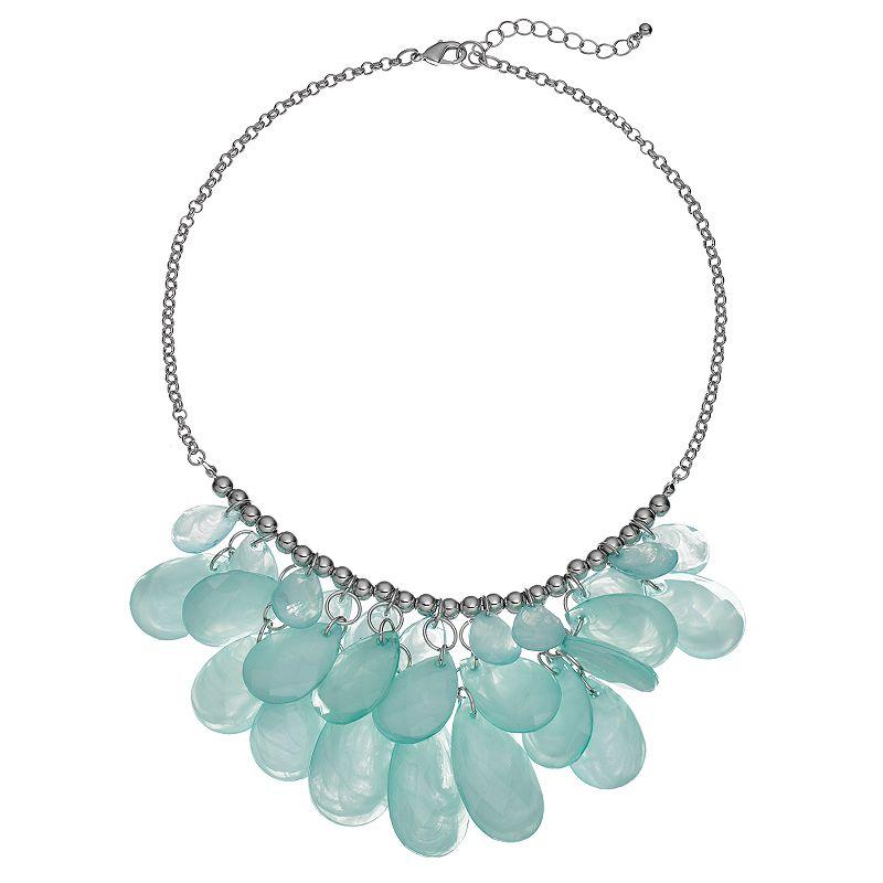 Green Beaded Teardrop Bib Necklace
