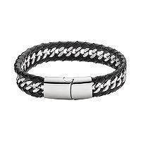 FOCUS FOR MEN Stainless Steel & Black Leather Woven Bracelet