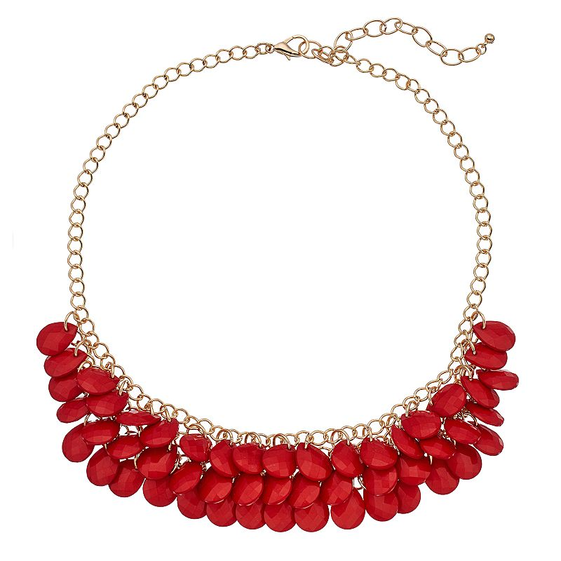 Tiered Red Teardrop Beaded Necklace