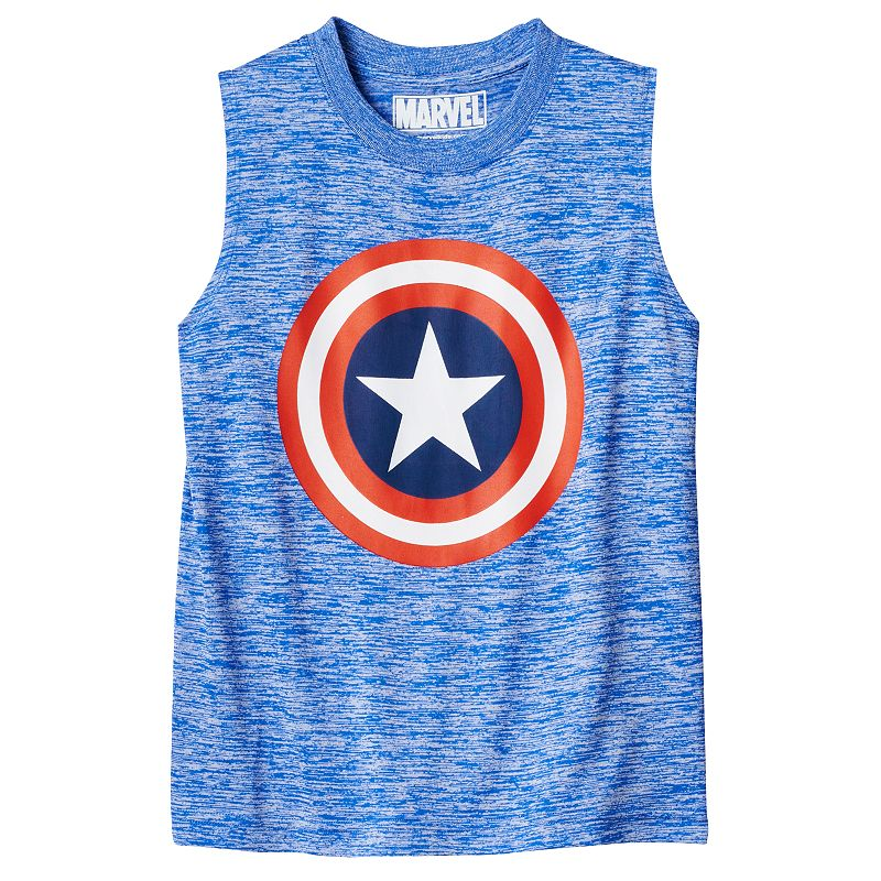 Boys 4-7 Marvel Captain America Shield Space-Dyed Muscle Tee