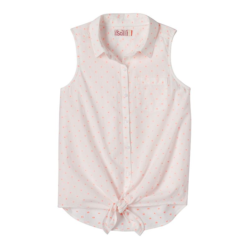 Girls 7-16 & Plus Size SO® Tie-Front Sleeveless Top