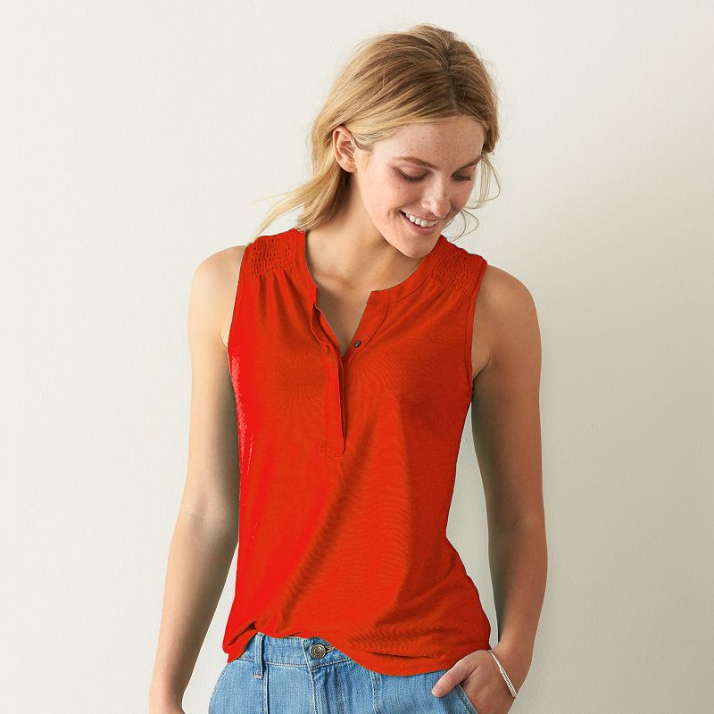 Women's SONOMA Goods for Life™ Smocked Henley Tank