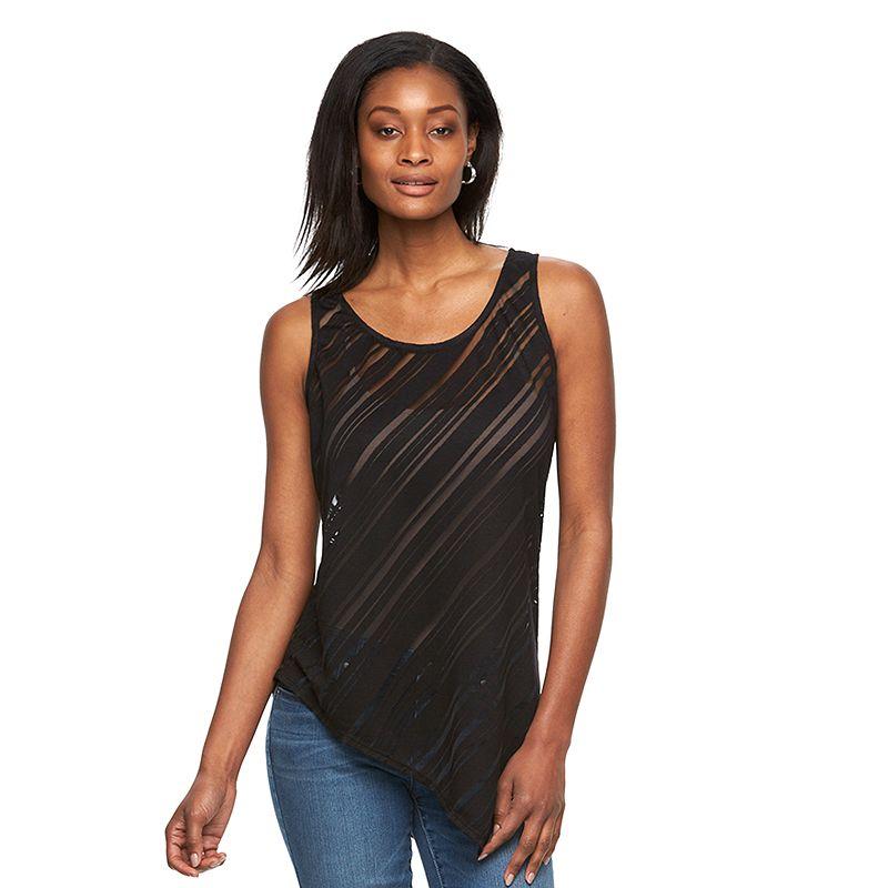 Women's Apt. 9® Asymmetrical Burnout Tank Top