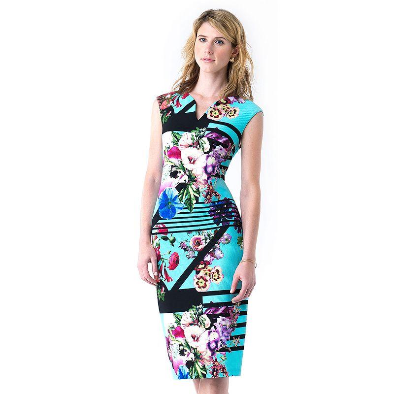 Women's Indication by ECI Floral Midi Sheath Dress