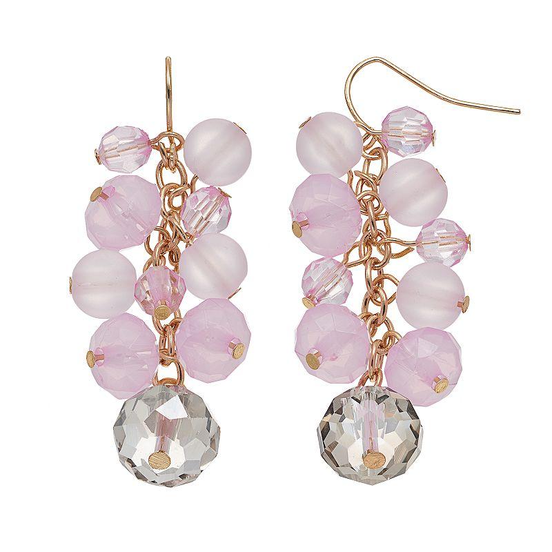 Pink Beaded Cluster Drop Earrings