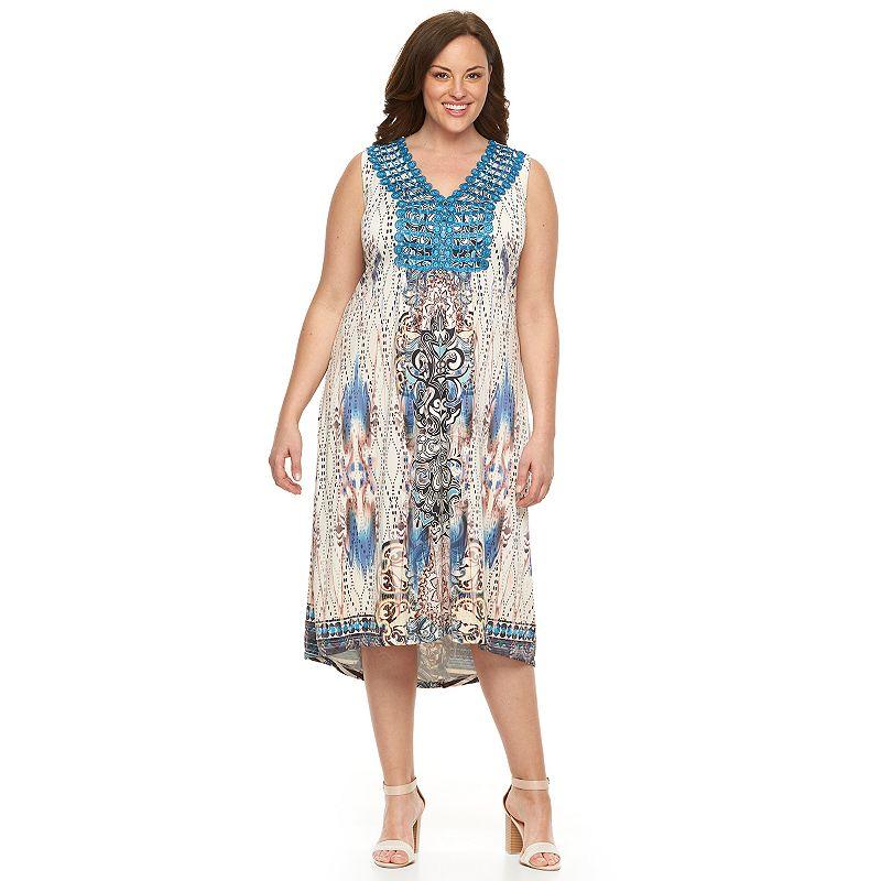 Plus Size World Unity Printed High-Low Maxi Dress
