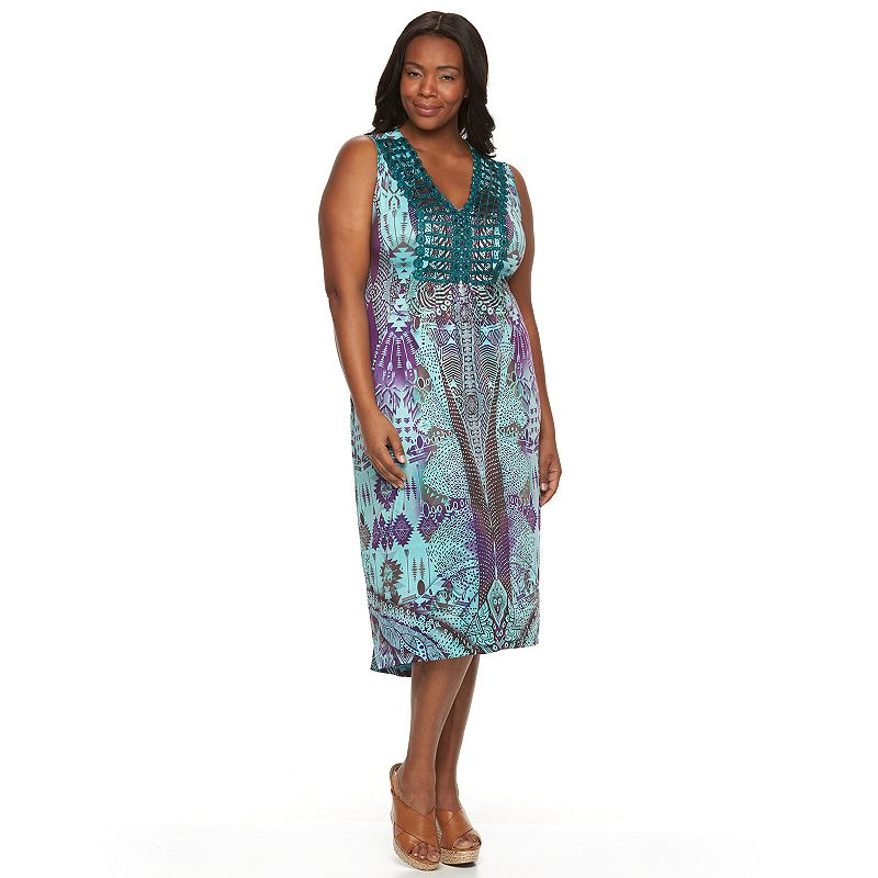 Plus Size World Unity Printed High-Low Maxi Dress
