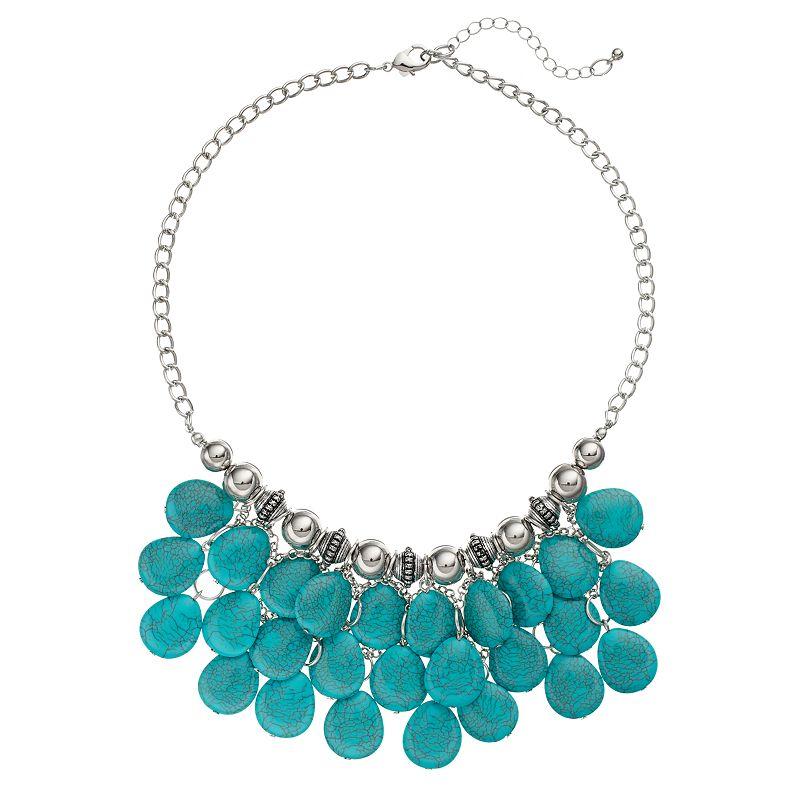 Simulated Turquoise Beaded Teardrop Bib Necklace