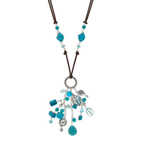 Beaded Long Cluster Cord Necklace