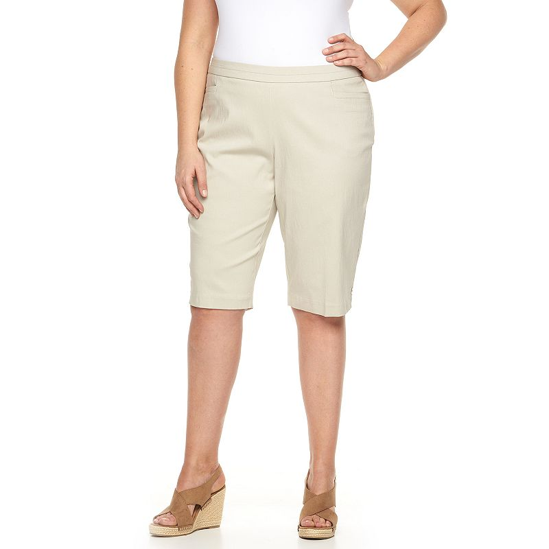 Plus Size Napa Valley Slimming Solution Pull-On Skimmer Capris
