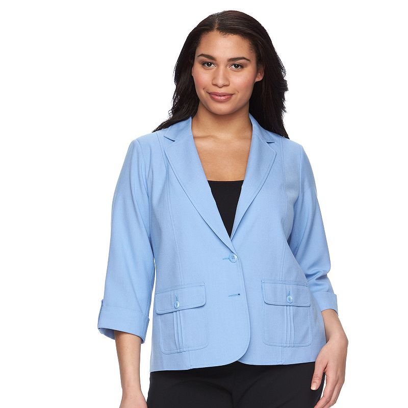 Plus Size Napa Valley Button-Front Look Jacket