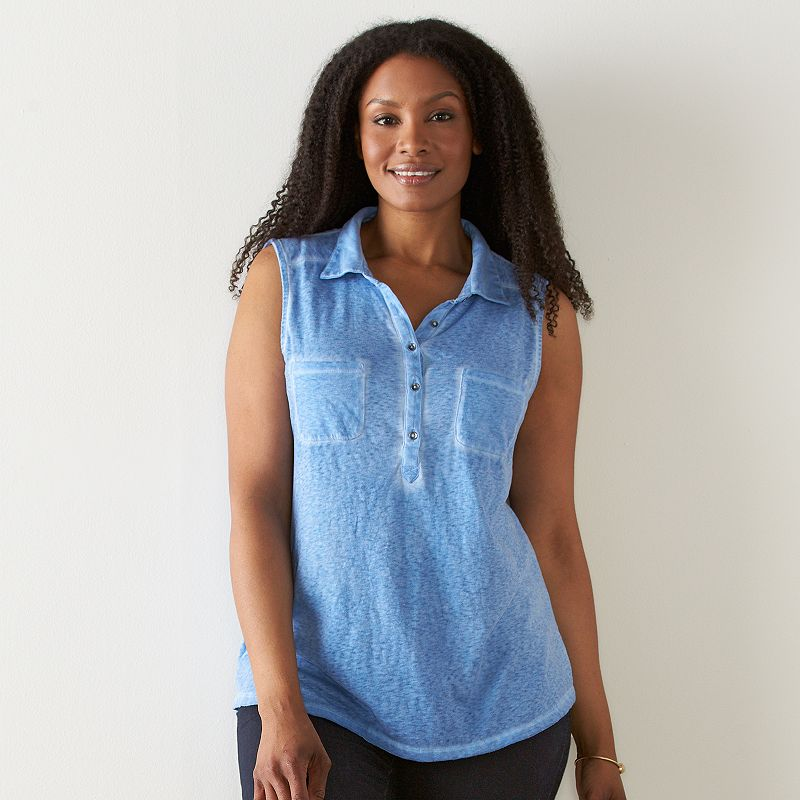 Plus Size SONOMA Goods for Life™ Henley Tank