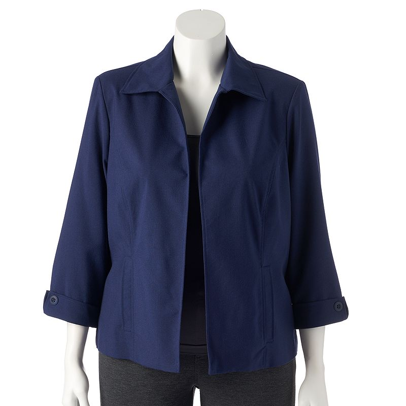 Plus Size Napa Valley Notch-Collar Look Jacket