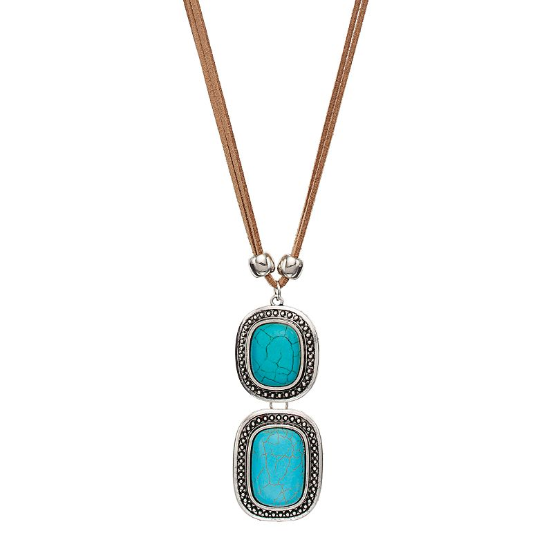 Long Simulated Turquoise Double Pendant Cord Necklace