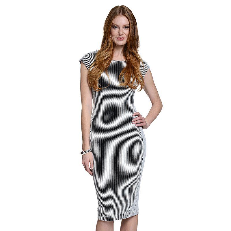 Women's Indication by ECI Striped Midi Sheath Dress