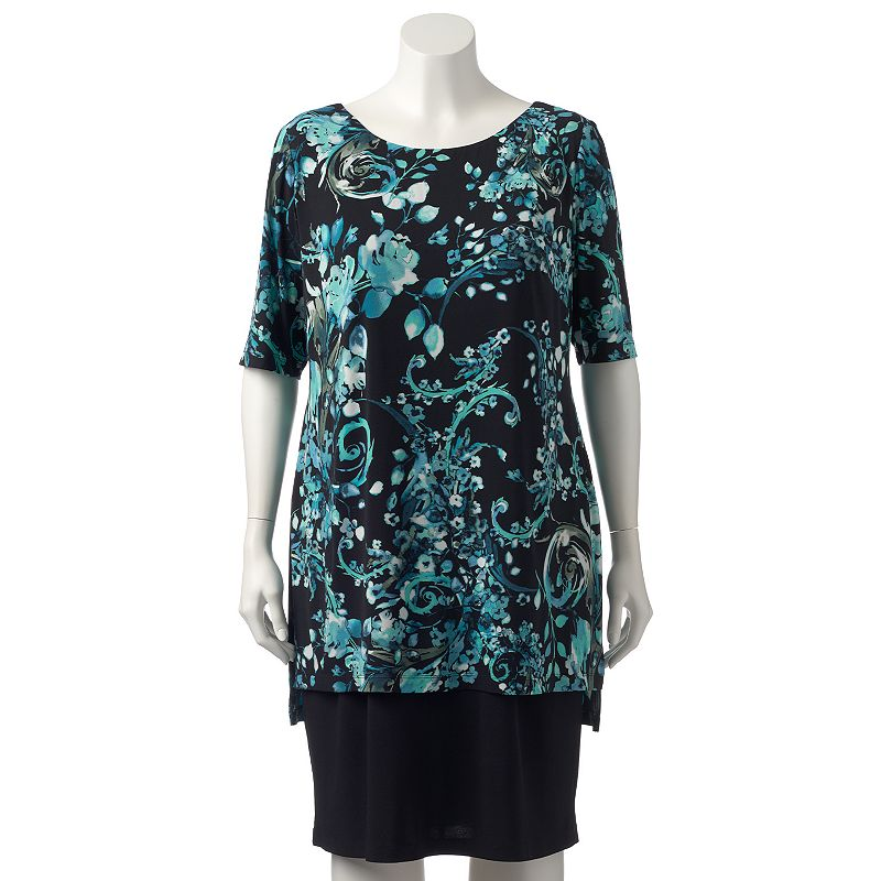 Plus Size Connected Apparel Floral Mock-Layer Shift Dress