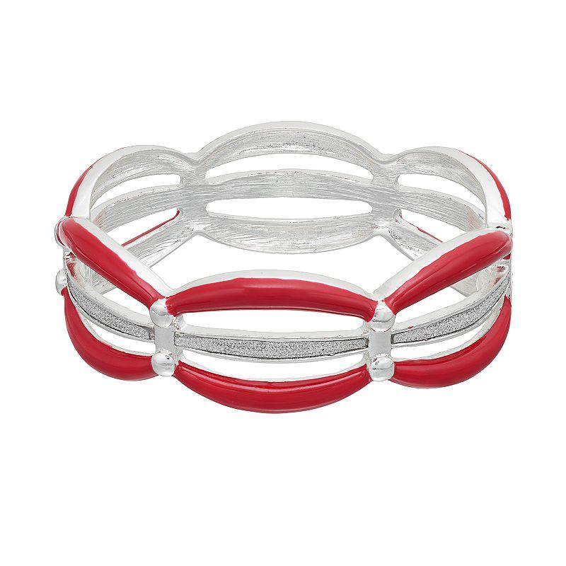 Red Multi Row Hinged Bangle Bracelet