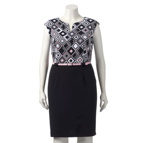 Plus Size Connected Apparel Geometric Sheath Dress