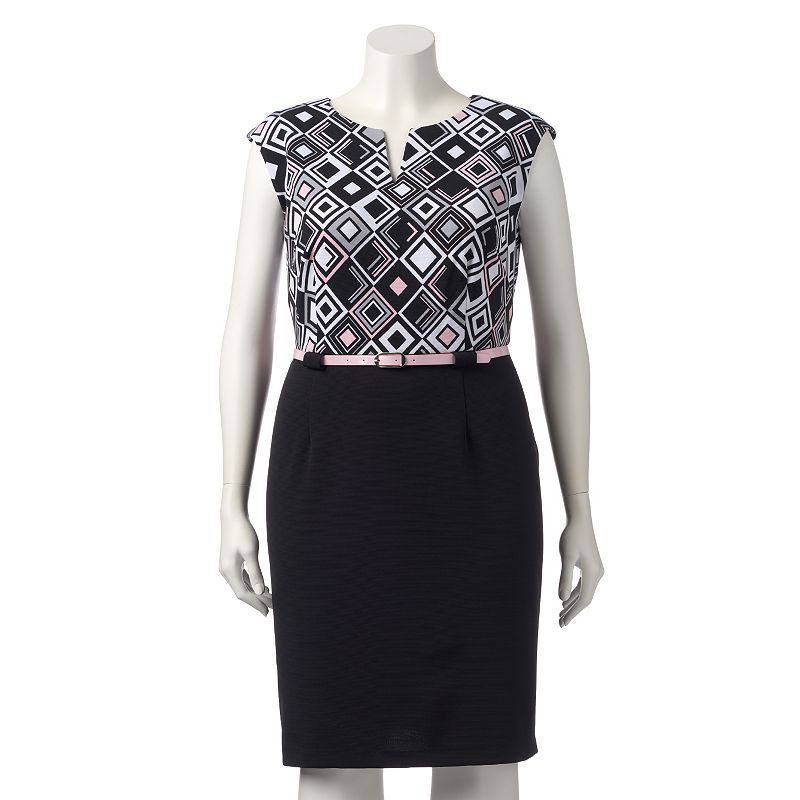 Plus Size Connected Apparel Geometric Sheath Dress