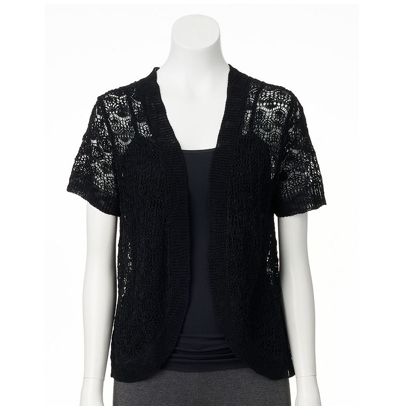 Women's Fashion Ave Crochet Open-Front Shrug