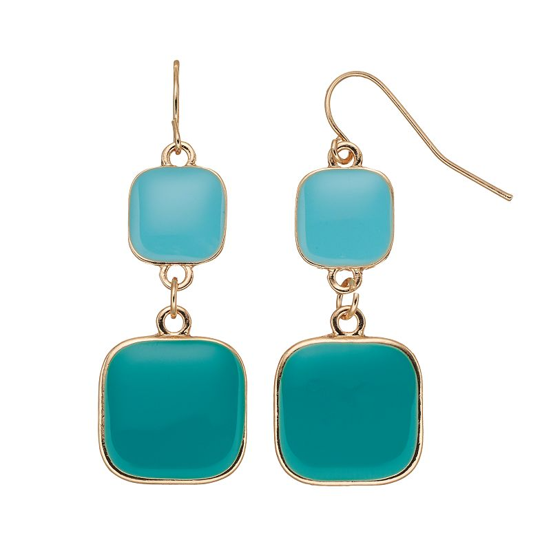 Aqua Square Double Drop Earrings