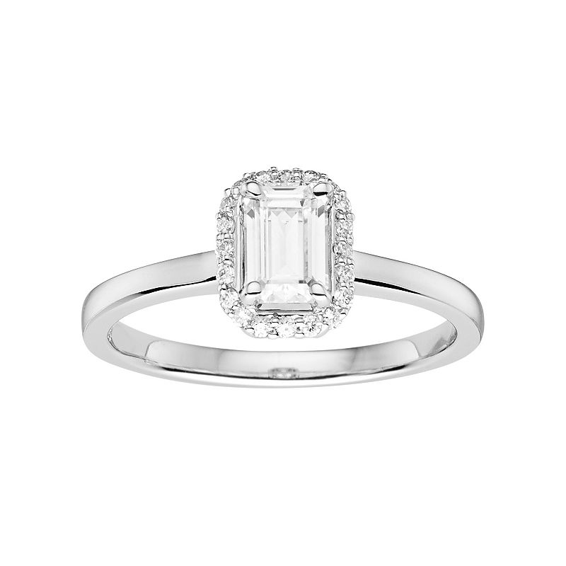 Forever Brilliant 14k White Gold 5/8 Carat T.W. Lab-Created Moissanite Rectangle Halo Engagement Ring